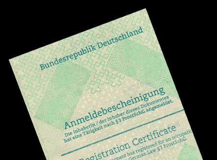 Anmeldebescheinigung ProstSchG